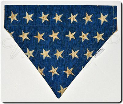 Dog Bandana Over Collar Style, Reversible Vintage Stars Designer Fabric, Small