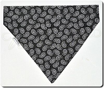 Dog Bandana Over Collar Style, Reversible Paisley / Black Designer Fabric, Small