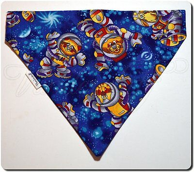 Dog Bandana Over Collar Style, Space Animals Designer Fabric, Reversible, Small