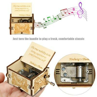 Retro Wooden Music Box Hand-Cranked Engraved Toys Kids Birthday Gift Xmas Decor