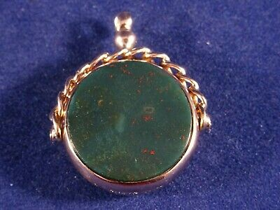 Stunning Mid Victorian Solid 9ct Gold Spinning Round Agate Fob, Birmingham 1870