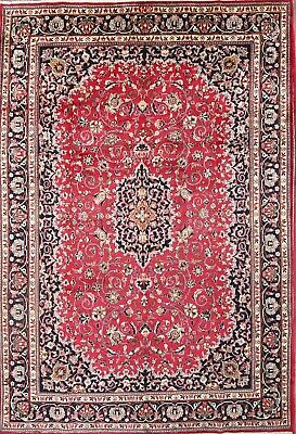 One-of-a-Kind Traditional Kashmar Persian Hand-Knotted 8x11 Burgundy Area Rug