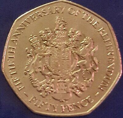 2017 GIBRALTAR THE REFERENDUM FIFTIETH ANNIVERSARY Fifty Pence 50P COIN