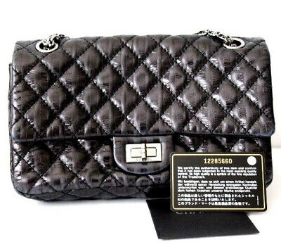 57b71c7dfb82 AUTH Chanel Black 2.55 Reissue Flap Accordion Bag Quilted Metallic Leather  Chain