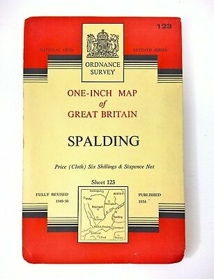 Vintage Ordnance Survey Map 123 1954 Spalding