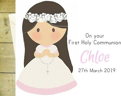 First Holy Communion Card for Girl Personalised handmade sister granddaughter daughter