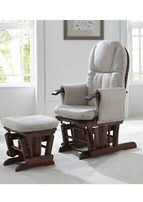 Tutti Bambini Walnut Nursing Glider Chair And Stool
