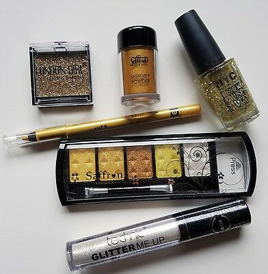 Gold Party Make-up Set Eye Shadow Glitter Shimmer Powder Lip Gloss Nail Polish