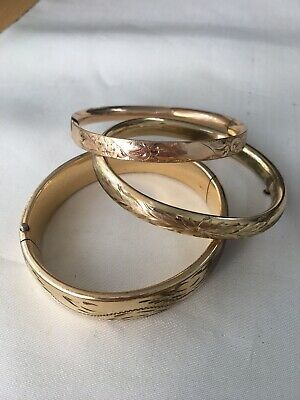 Lot of 3 Antique Victorian Art Deco Gold Filled Bangle Bracelets As Is Craftmere