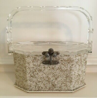 Vintage Lucite Box Purse, Circa 1950s 8-Sided Box, Beige with Speckles Design