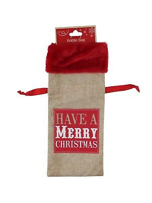Hessian Bottle Bag - Eat Drink & Be Merry Christmas Festive Red Velvet Presents