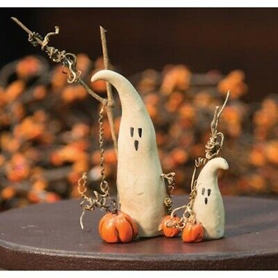 Set of 2 Mommy & Baby Ghosts Pumpkin Resin Fall Halloween Twig 1.5 & 3.5 in NWT