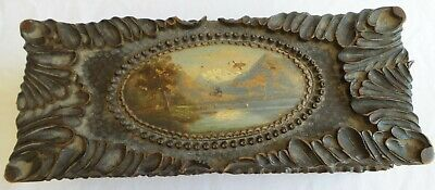Antique Primitive Wooden Jewlery Box Trinket Box Heavely Carved