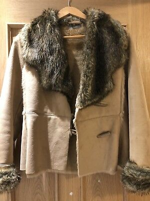 Wallis Beige Faux Fur Coat Size 8