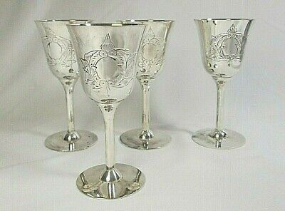 4 Vintage Silverplate Wine/Sherry/Liquor Goblets Etched Wreath Design