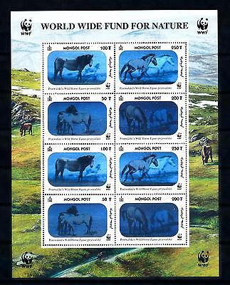 [54298] Mongolia 2000 Wild animals WWF Wild horses with hologram foil MNH Sheet