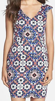 French Connection Electric Mosaic' Sheath Dress ~ Size 2 ~ Electric Blue/Multi