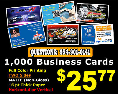 MATTE 1000 BUSINESS CARDS - Full Color NO Gloss Personalized Custom NO GLOSS