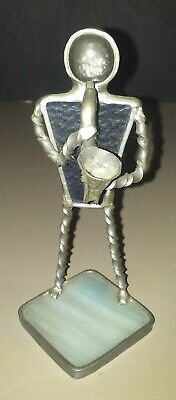 1990's Stained Glass man playing a saxaphone Figurine/Statue