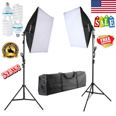 2Pcs 700W Photography Continuous Softbox Photo Studio Lighting Kit +2 Light Bulb