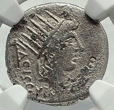 Roman Republic 45BC Ancient Silver Coin SOL & Diana or LUNA Moon NGC i77402