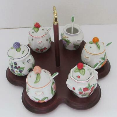 Lenox Orchard Giftware Jam & Jelly Jars W/Lids, Spoons & Wooden Caddy - Set of 6