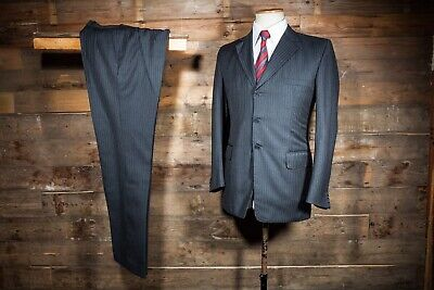 Mens The Label Grey Red Pinstripe Wool Suit Size 42r & Trousers W36r #4l2 Herrenmode Anzüge
