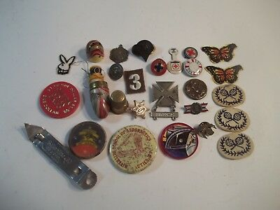 Vintage Smalls Collectable junk drawer lot. pin backs-military medals- more
