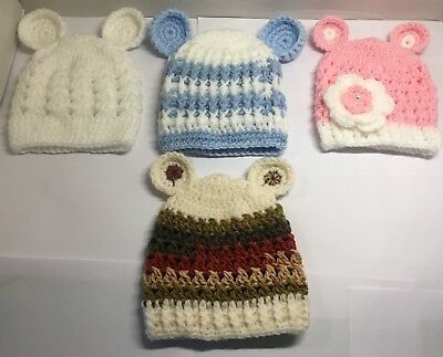 Newborn  Baby Hats With Ears Boys Girls Unisex White Pink Blue Colours Handmade