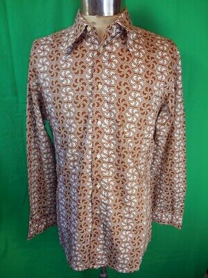 Vintage 60s 70s Camajo Italy Brown Poly/Cotton Party Dress Shirt M Groovy Mod
