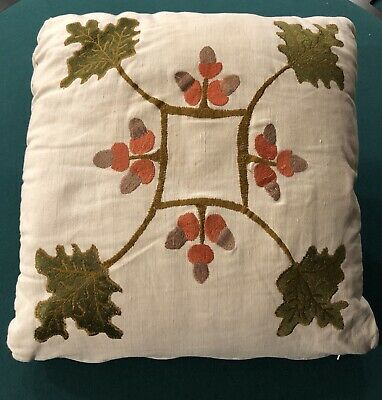 Arts & Crafts Mission Stickley Limbert Oak Leaf & Acorns Pillow