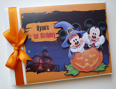 Personalised Disney Halloween Mickey/First/1St Birthday Guest Book - Any Design