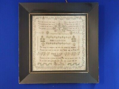 19th Century Framed Cotton Sampler Mary Griffith Aged 9  Dated 1824