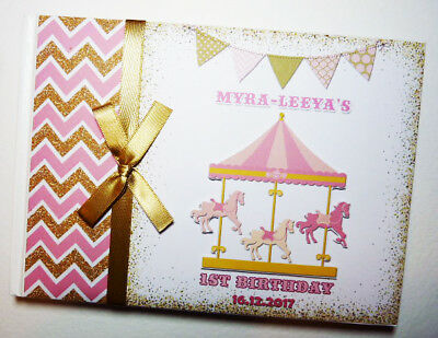 Personalised Carousel Girls /First/1St Birthday Guest Book - Any Design