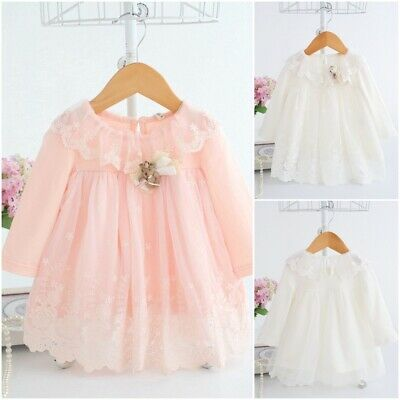 Cute Embroidery Cotton Baby Girls Dresses Pink White Newborn Infant Clothing