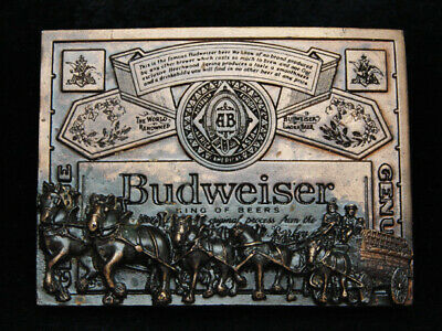 PD11109 *NOS* VINTAGE 1970s **BUDWEISER KING OF BEERS CLYDESDALES** BELT BUCKLE