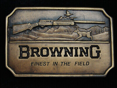 QF03170 *NOS* VINTAGE 1970s **BROWNING FINEST IN THE FIELD** HUNTING GUN BUCKLE