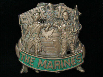 Pf07147 Vintage 1982 **United States Marines** Military Solid Brass Belt Buckle
