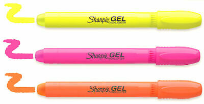 Sharpie Gel Stick Highlighters 3 Colors Won't Bleed or Smear Ink Free Technology