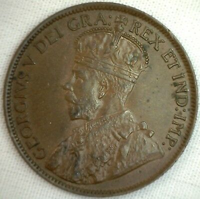 1913 Copper Canadian Large Cent Coin 1-Cent Canada AU #2