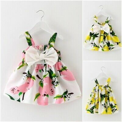 Sleeveless Printed Cotton Baby Girls Dresses Summer Above Knee Infant Clothes