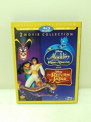 Disney's Aladdin Return of Jafar 2 King of Thieves 3 Blu-Ray {NEW, NO DIGITAL}