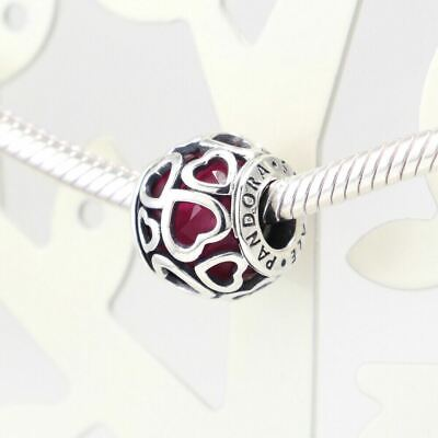 Authentic Pandora Charms 925 ALE Sterling Silver Heart Pink Crystal Charm Bead
