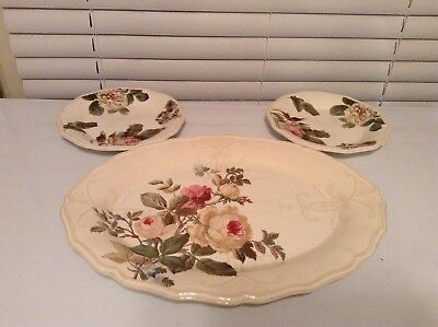 """Lenox Accoutrements Oval Serving Platter 16""""x 12"""" Roses Green Floral Rustic Edge"""