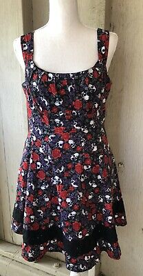 db444ce4b7 HOT TOPIC Skull Floral Print Fit & Flare Dress Lace Detail Lg Rockabilly  Pinup