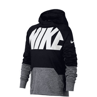 c8674c3793e685 NIKE Youth Boys Therma Training Hoodie Athletic Pullover Black Gray White  Size M