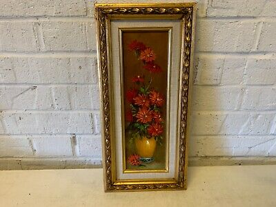 Vintage Framed Original Oil Painting of Red Flowers Signed Robert Cox