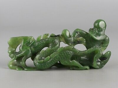 Chinese Exquisite Hand carved Dragon Luohan Carving Hetian jade statue