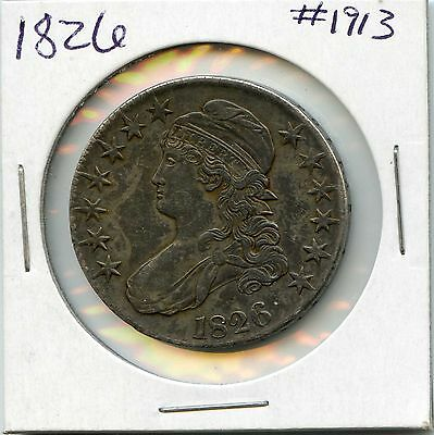 1826 50C Capped Bust Silver Half Dollar. Circulated. Lot #1606