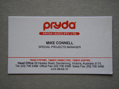 Pryda Australia Dandenong Mike Connell Business Card